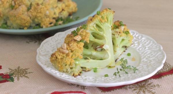 receita vegana de couve flor assada